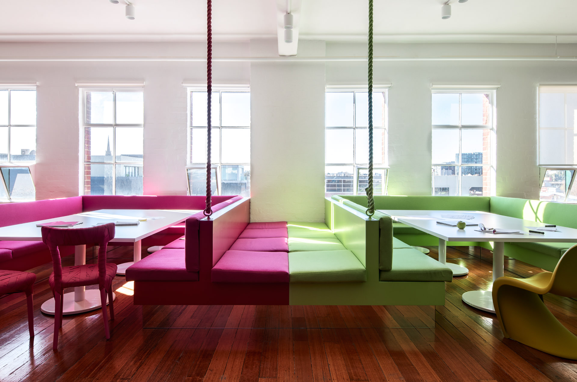 Cera Stribley Architecture Interior Design Thinkerbell pink and green tables
